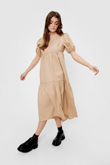 Natural beige High Neck Puff Sleeve Tiered Midi Dress