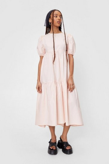 Soft pink High Neck Puff Sleeve Tiered Midi Dress