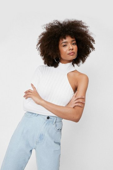 White Wide Ribbed Knit High Neck One Shoulder Top