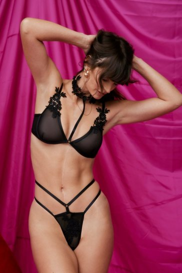 Black We're Sheer for It Applique Bralette and Panty Set