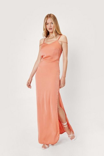 Salmon Strappy Satin Side Slit Maxi Dress