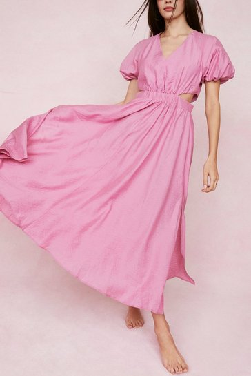 Fushia Puff Sleeve Cut Out Maxi Dress