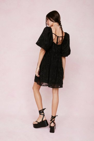 Black Jacquard Square Neck Puff Sleeve Mini Dress