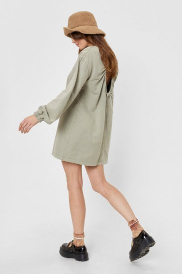 Olive Backless Acid Wash Sweatshirt Dress
