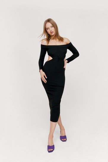 Black Off the Shoulder Twist Cut Out Midi Dress