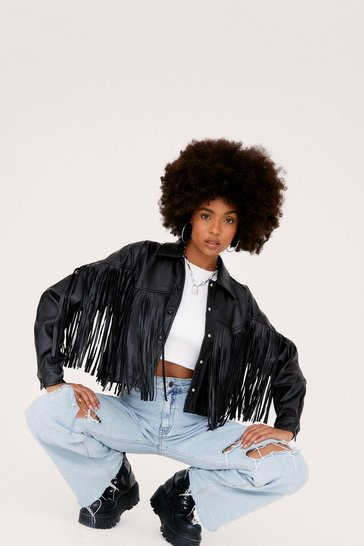 Black Western Back Time Faux Leather Fringe Jacket