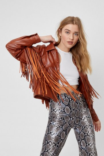 Brown Western Back Time Faux Leather Fringe Jacket
