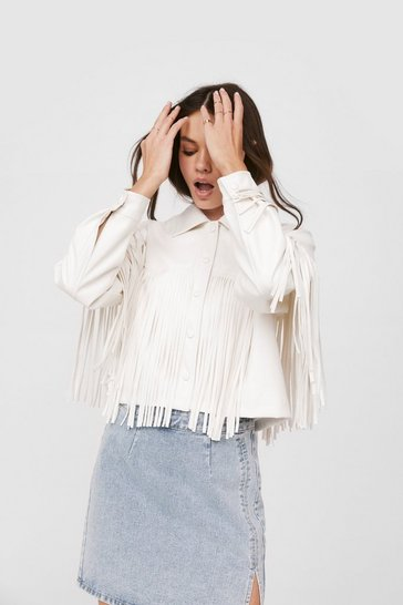 White Western Back Time Faux Leather Fringe Jacket