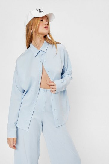 Blue Oversized Drop Blouson Sleeve Shirt