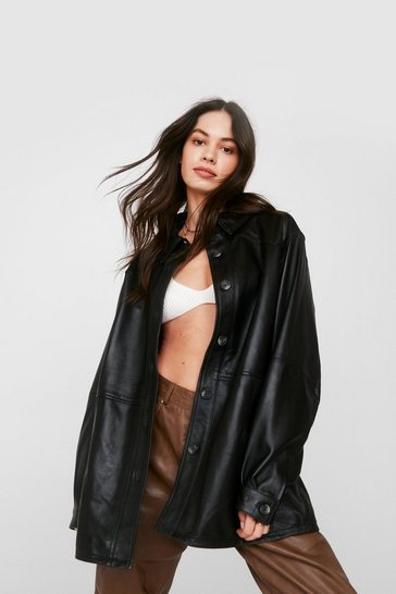 Black Oversized Long Sleeve Leather Shirt Jacket