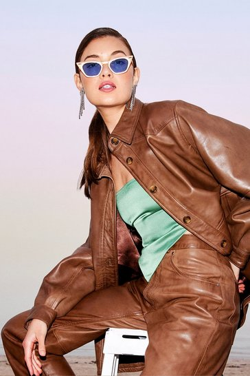 Chocolate Oversized Long Sleeve Leather Shirt Jacket
