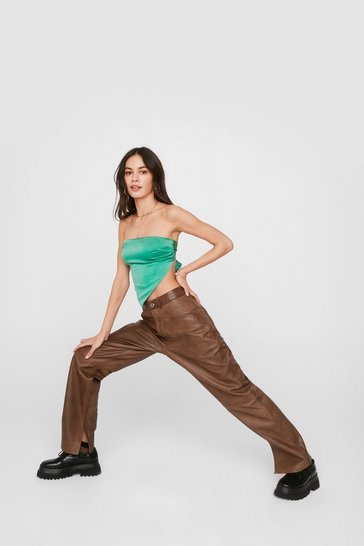 Chocolate Leather High Waisted Slit Pants