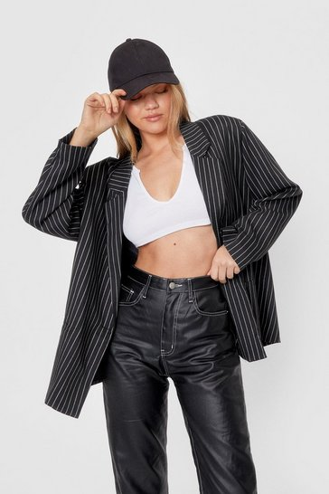 Black Boxy Oversized Pinstriped Blazer