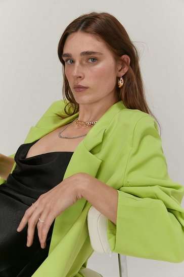 Lime Oversized Shoulder Padded Single Breasted Blazer