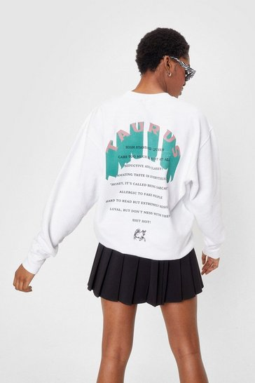 White Oversized Taurus Graphic Sweatshirt