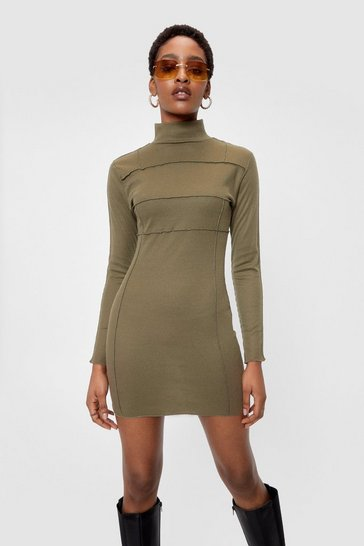 Khaki Ribbed High Neck Bodycon Mini Dress