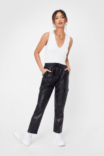 Black Pocket On It High-Waisted Faux Leather Pants