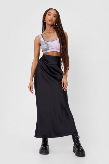 Black Satin High Waisted Bias Cut Maxi Skirt