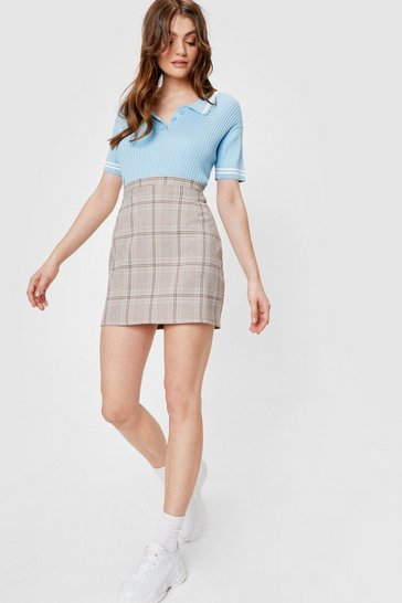 Light brown Take a Mini High-Waisted Check Skirt