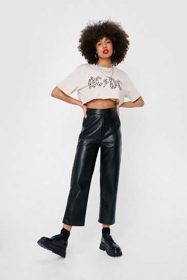 Black Faux Leather High Waisted Cropped Pants