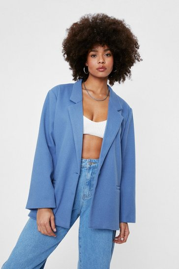 Blue Oversized Wool Look Button Blazer
