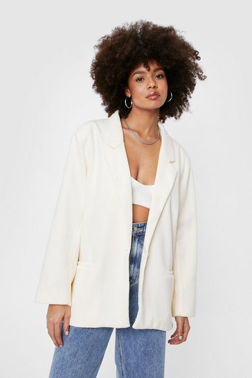 Ivory Oversized Wool Look Button Blazer