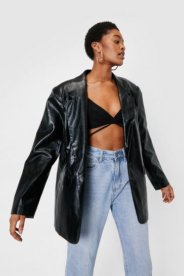 Black Oversized Boyfriend Faux Leather Blazer