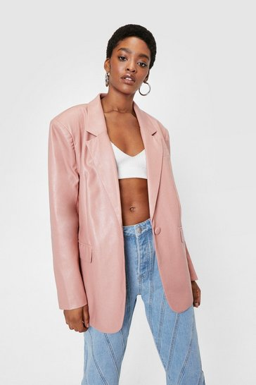 Pink Oversized Button Down Faux Leather Blazer