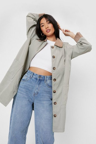 Stone Corduroy Collar Button Down Longline Jacket