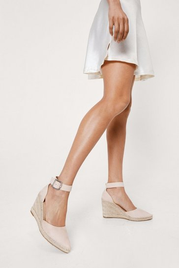 Beige Raffia Woven Pointed Espadrille Wedges
