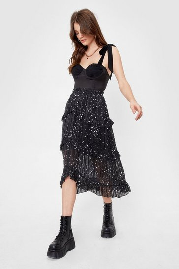 Mono We've Came This Star Ruffle Midi Skirt