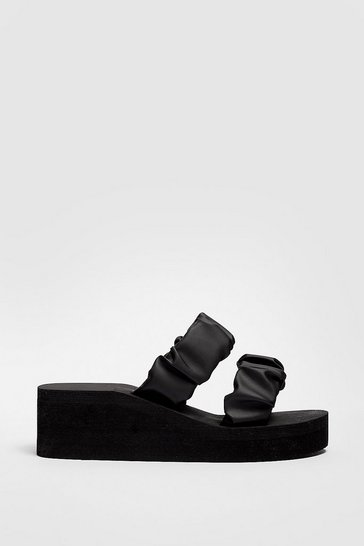 Black Faux Leather Ruched Double Strap Eva Wedges