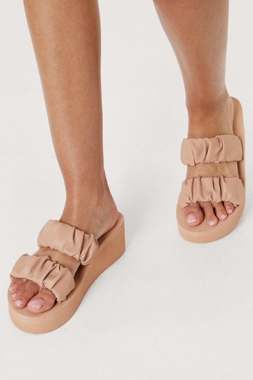 Nude Faux Leather Ruched Double Strap Wedges