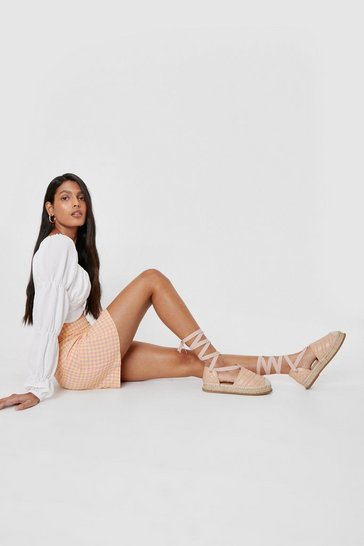 Nude Faux Leather Quilted Lace Up Espadrilles