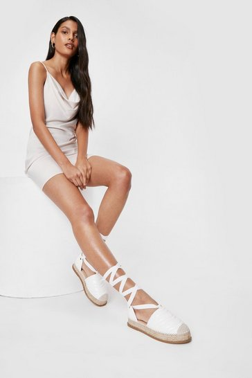 White Faux Leather Quilted Lace Up Espadrilles