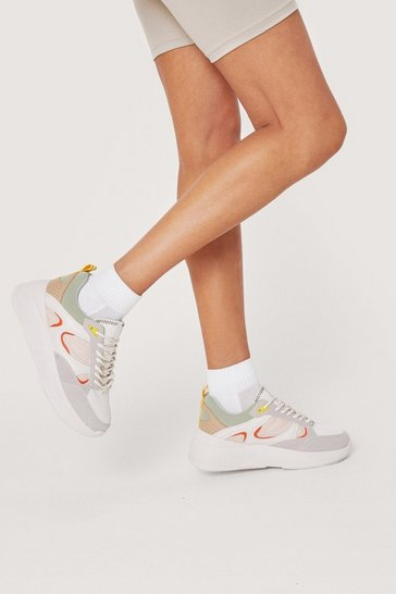 Multi Mixed Fabric Colourblock Chunky Trainers