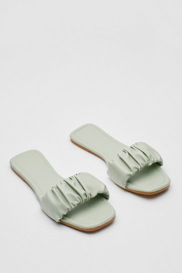 Mint Faux Leather Ruched Flat Square Toe Mules