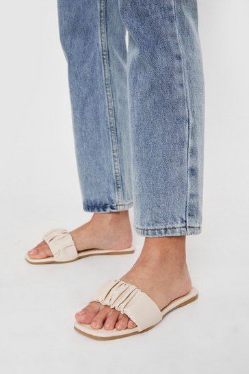 Nude Faux Leather Flat Ruched Square Toe Mules