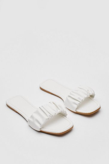 White Faux Leather Flat Ruched Square Toe Mules