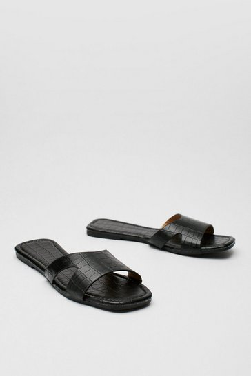 Black Cut Out Faux Leather Croc Flat Mules