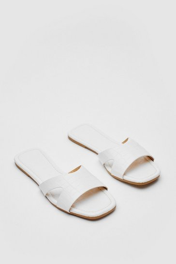 White Faux Croc Square Toe Cut Out Flat Mules