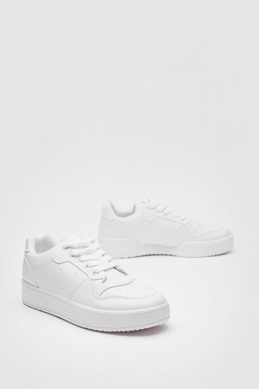 White Faux Leather Lace Up Chunky Sneaker