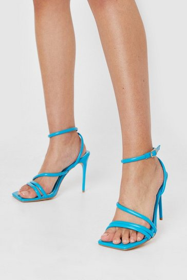 Blue Faux Leather Strappy Heeled Sandals