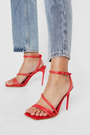 Red Skinny Strappy Square Toe Heeled Sandals