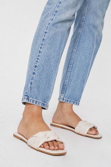 Nude Faux Leather Woven Pu Square Toe Flat Mules