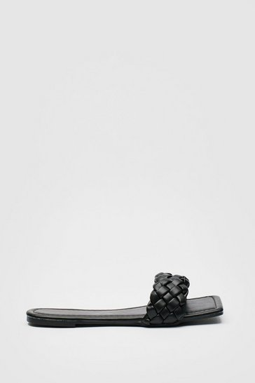Black Faux Leather Woven Square Toe Flat Mules
