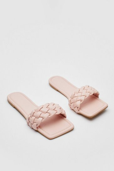 Pink Faux Leather Woven Square Toe Flat Mules