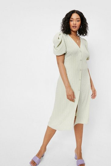 Sage Plus Size V Neck Button Down Midi Dress