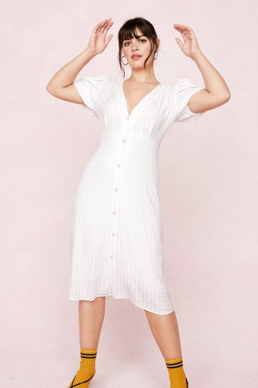 White Plus Size V Neck Button Down Midi Dress