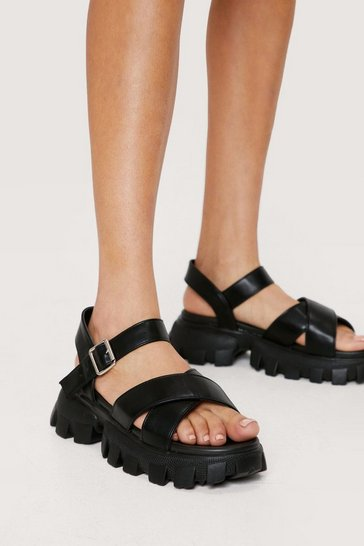 Black Faux Leather Cross Strap Chunky Sandals
